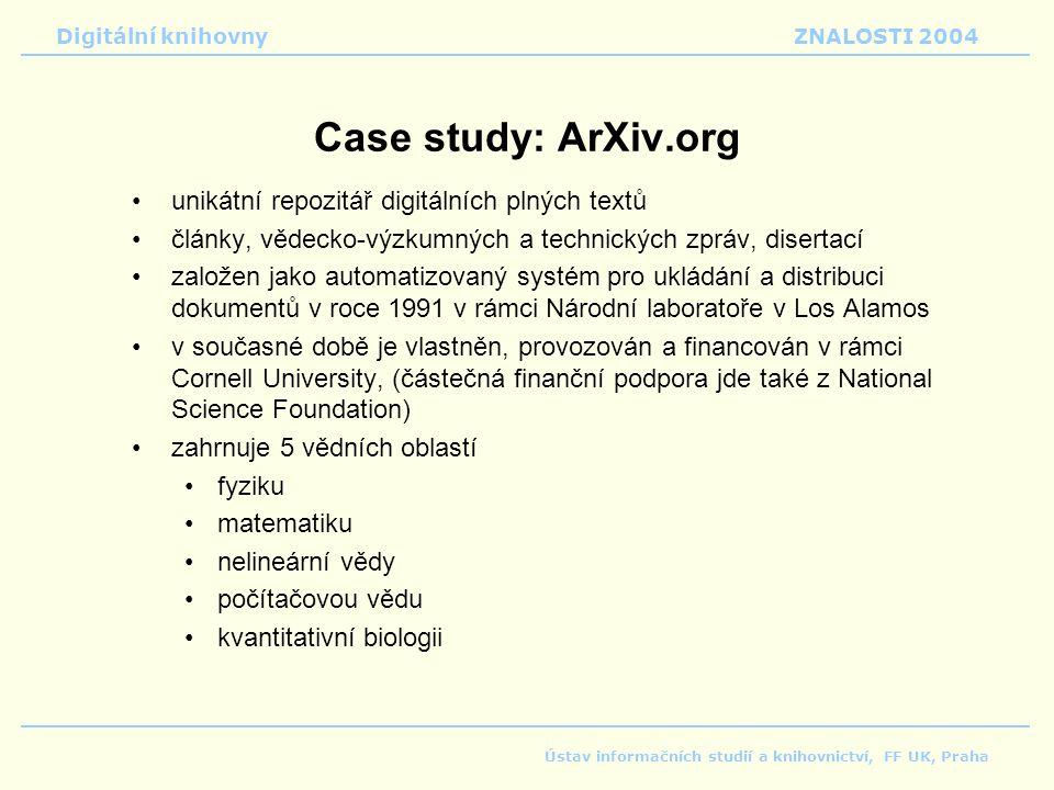 Case study: ArXiv.org unikátní repozitář digitálních plných textů