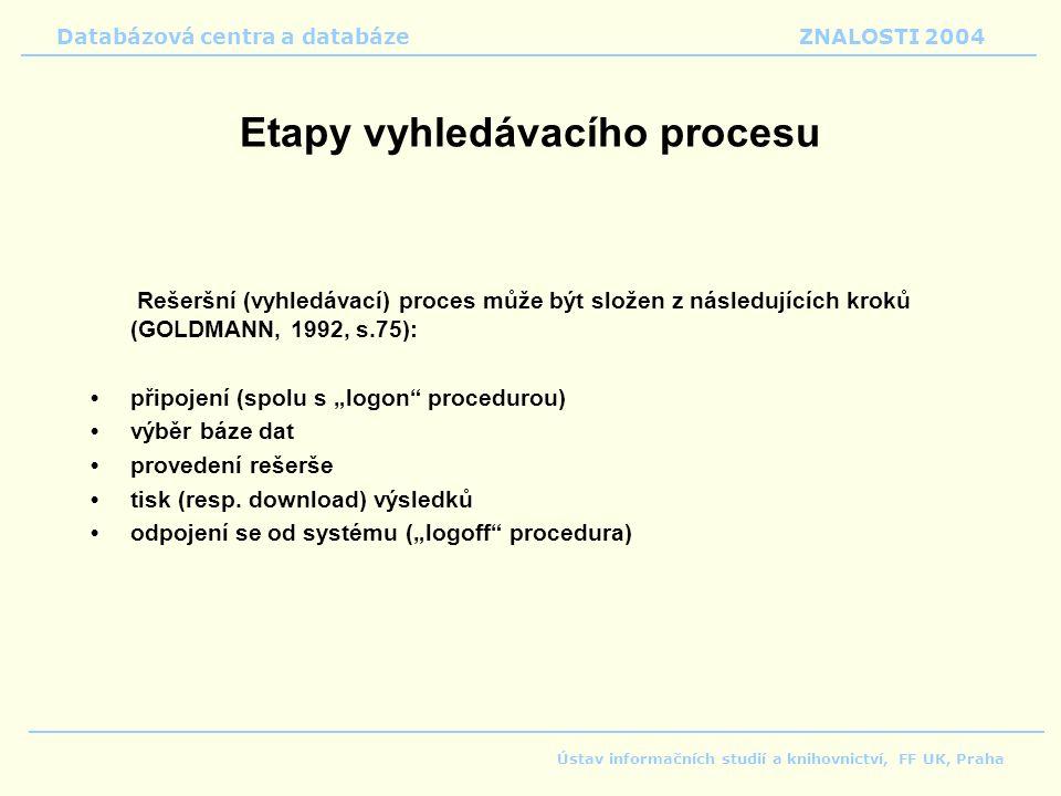 Etapy vyhledávacího procesu