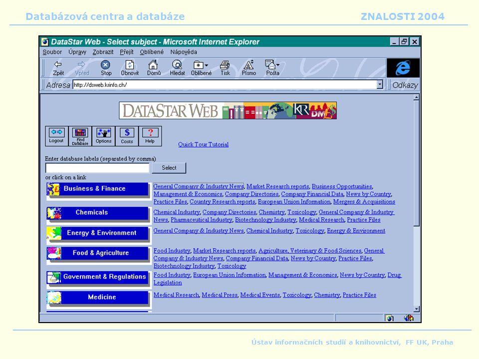 Databázová centra a databáze ZNALOSTI 2004