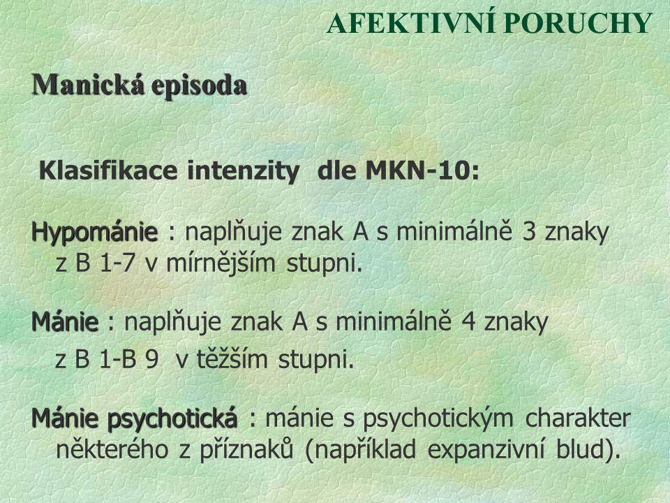 Klasifikace intenzity dle MKN-10: