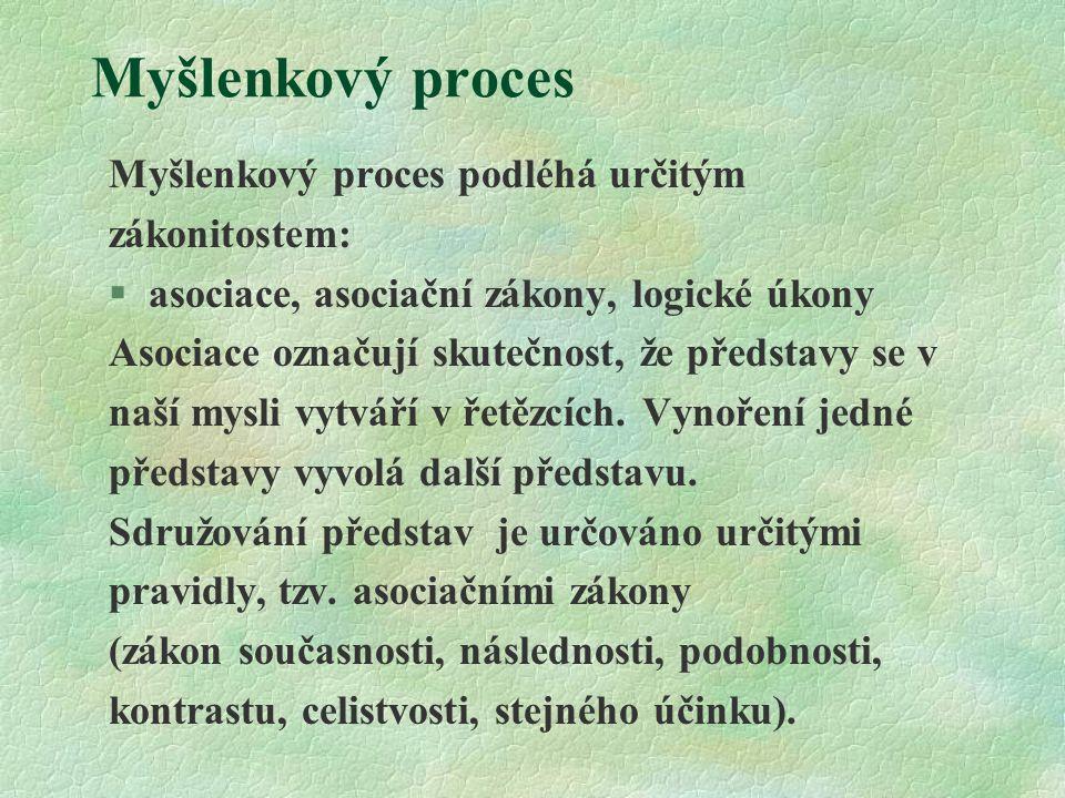Myšlenkový proces Myšlenkový proces podléhá určitým zákonitostem: