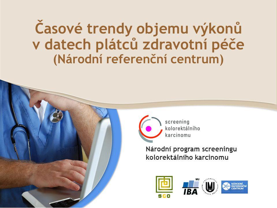 Časové trendy objemu výkonů v datech plátců zdravotní péče (Národní referenční centrum)