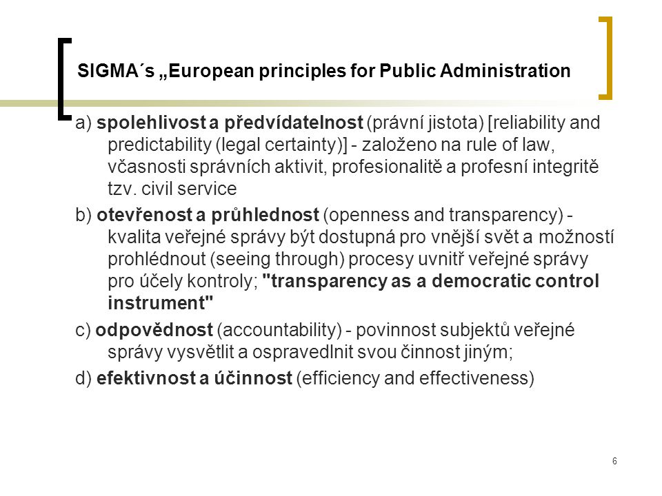 "SIGMA´s ""European principles for Public Administration"