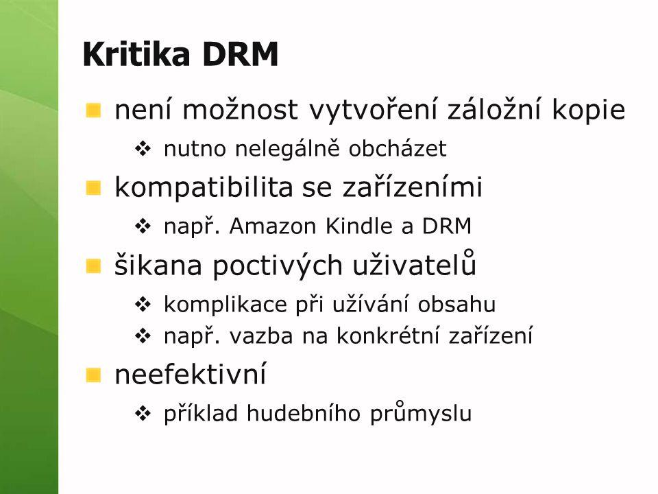 Kritika DRM není možnost vytvoření záložní kopie