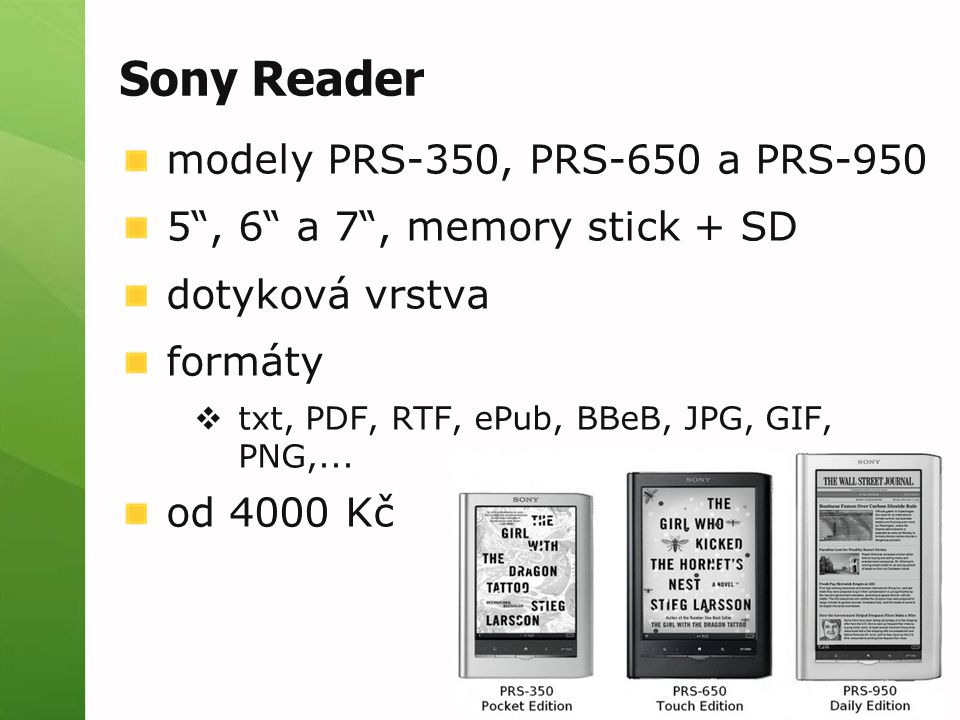 Sony Reader modely PRS-350, PRS-650 a PRS-950