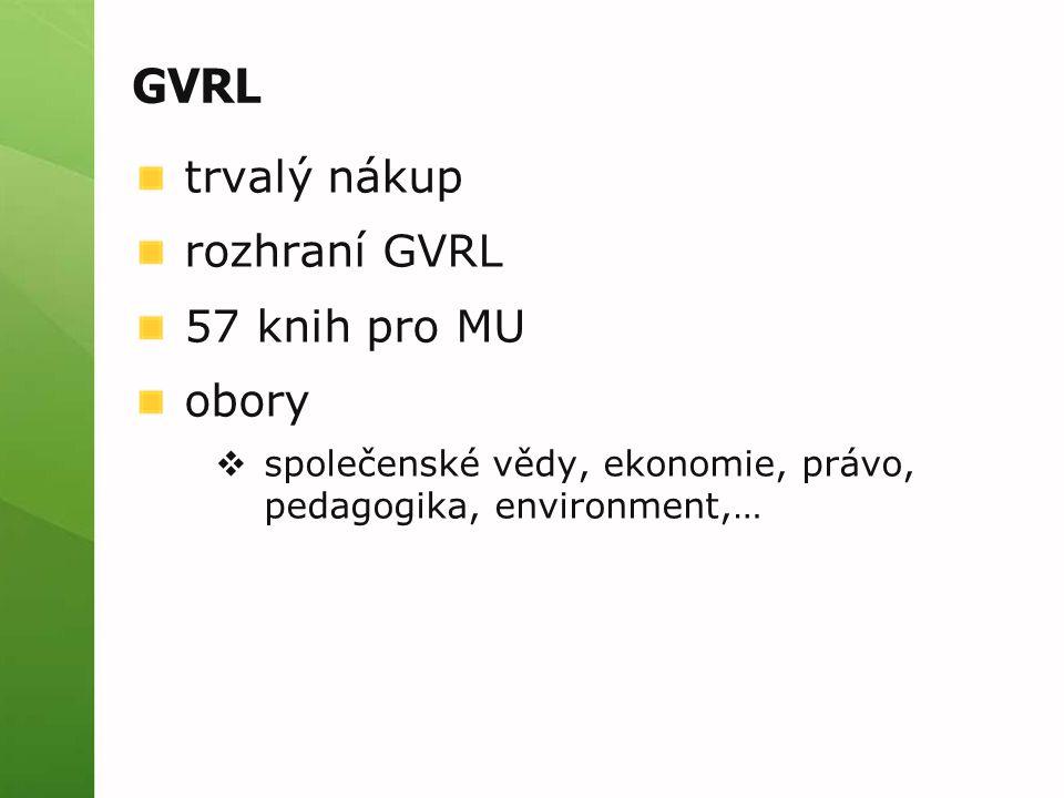 GVRL trvalý nákup rozhraní GVRL 57 knih pro MU obory