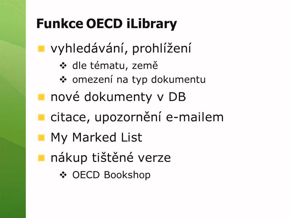 Funkce OECD iLibrary vyhledávání, prohlížení nové dokumenty v DB