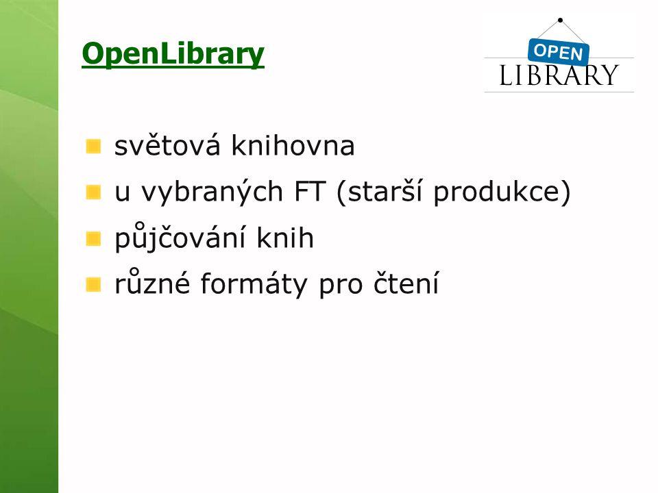 OpenLibrary světová knihovna u vybraných FT (starší produkce)