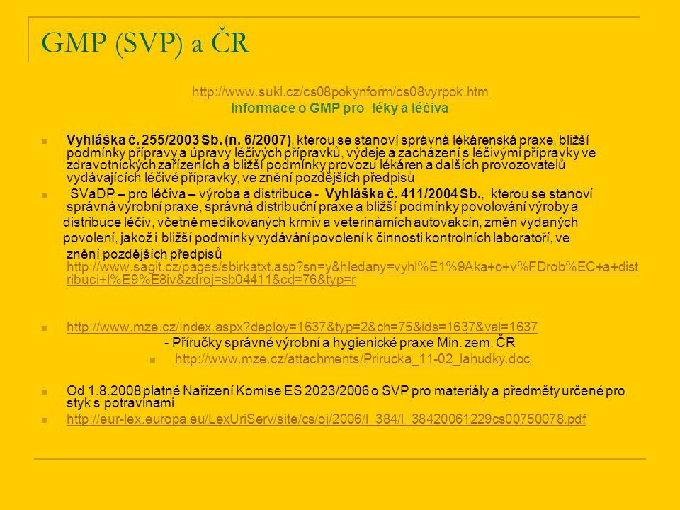 Informace o GMP pro léky a léčiva