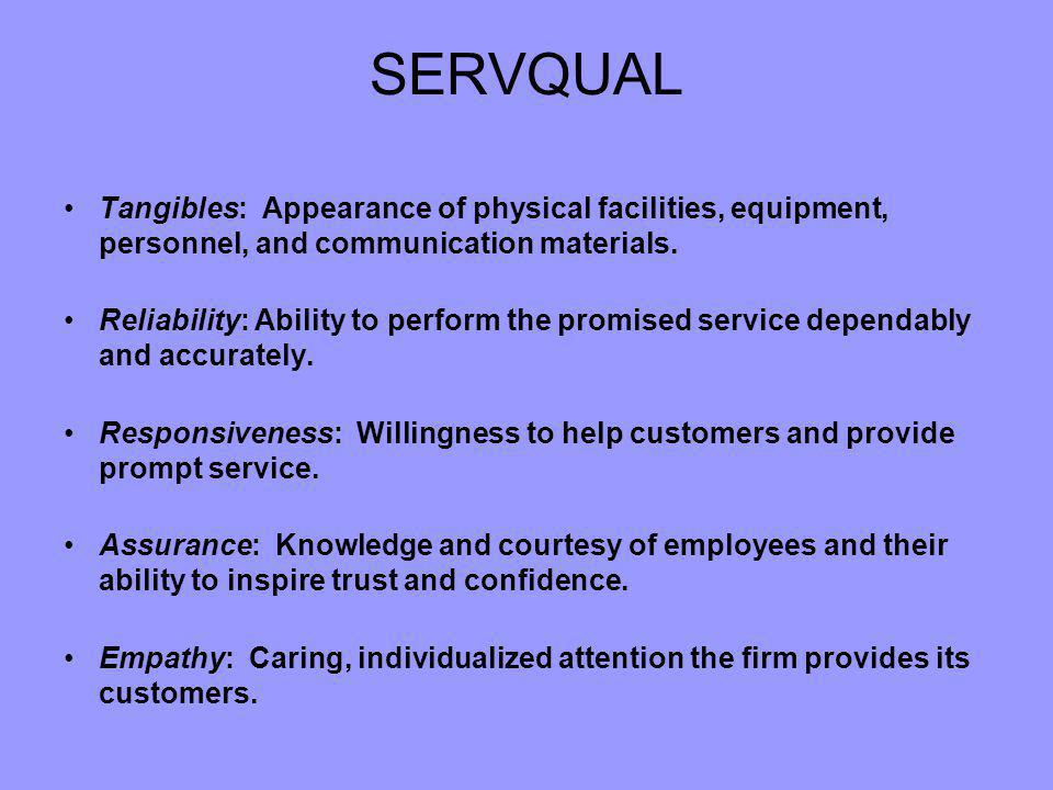 SERVQUAL Tangibles: Appearance of physical facilities, equipment, personnel, and communication materials.