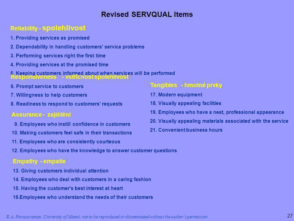 Revised SERVQUAL Items