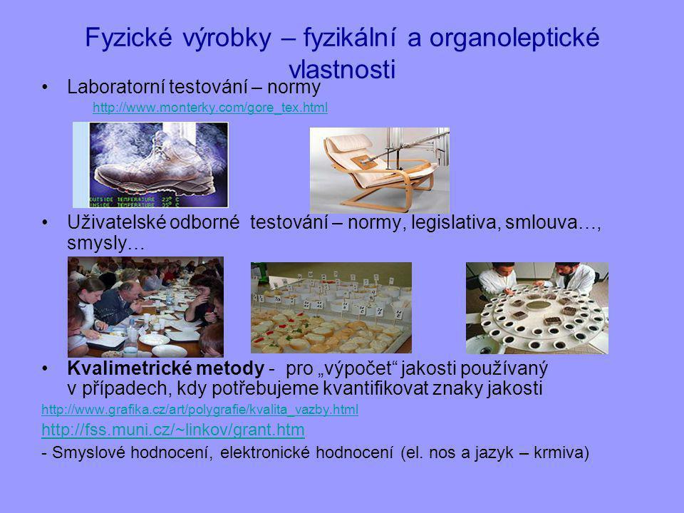 Fyzické výrobky – fyzikální a organoleptické vlastnosti