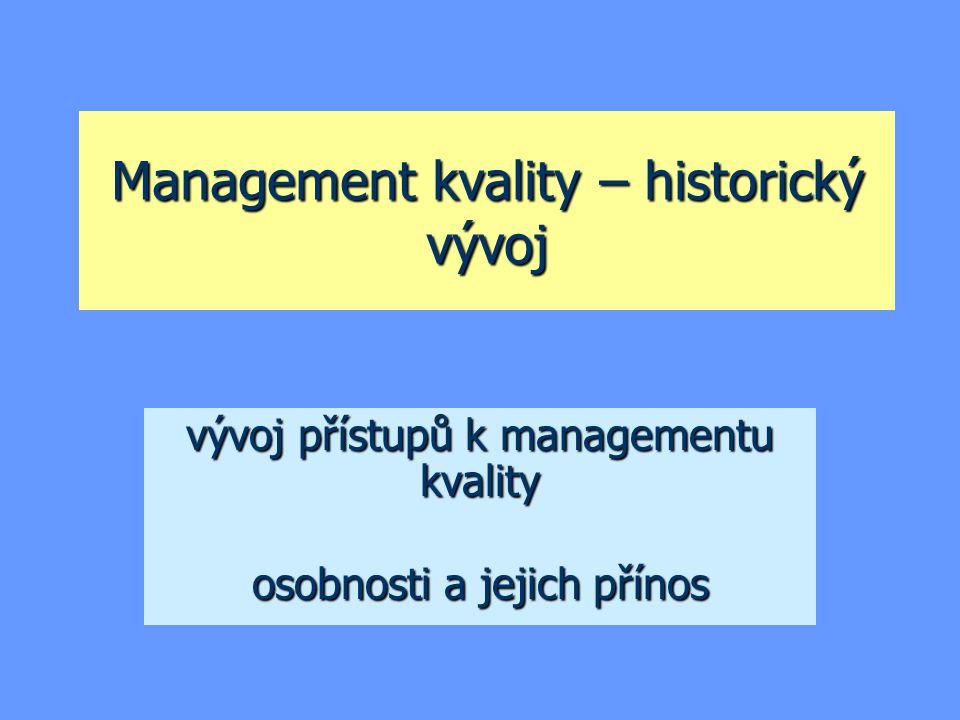 Management kvality – historický vývoj