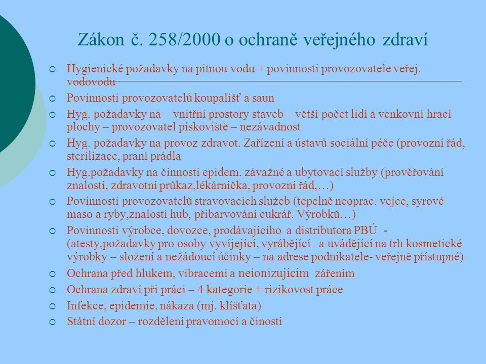 Zákon č. 258/2000 o ochraně veřejného zdraví