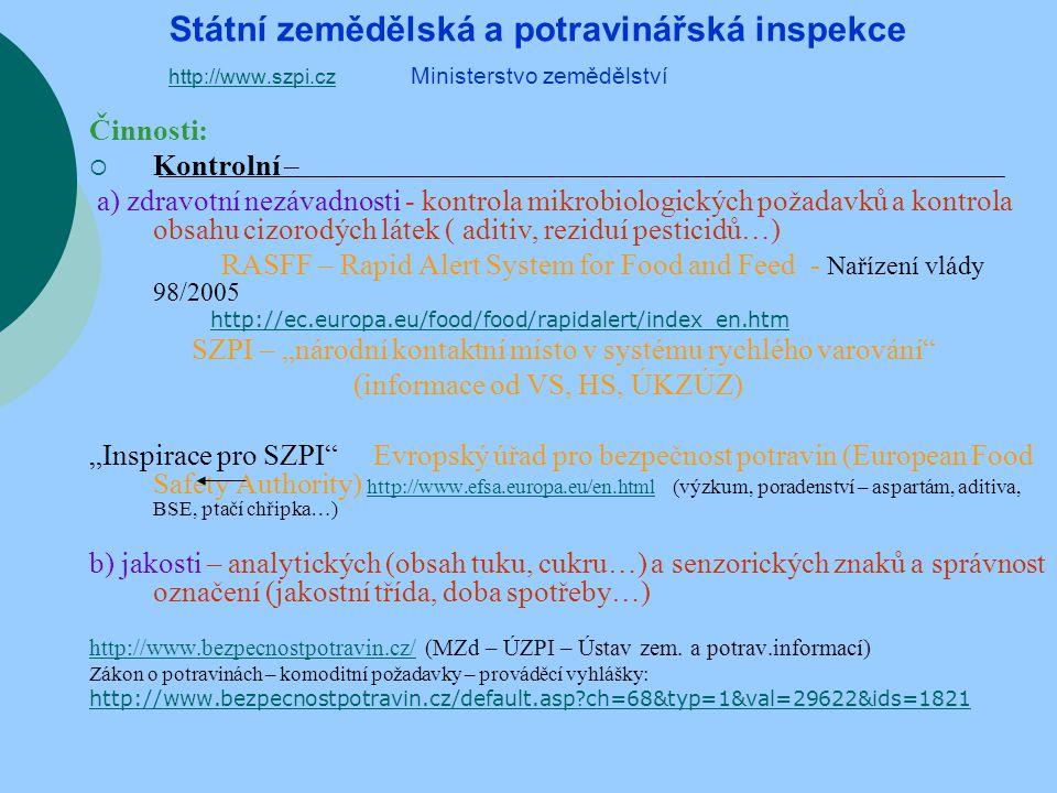 Státní zemědělská a potravinářská inspekce http://www. szpi