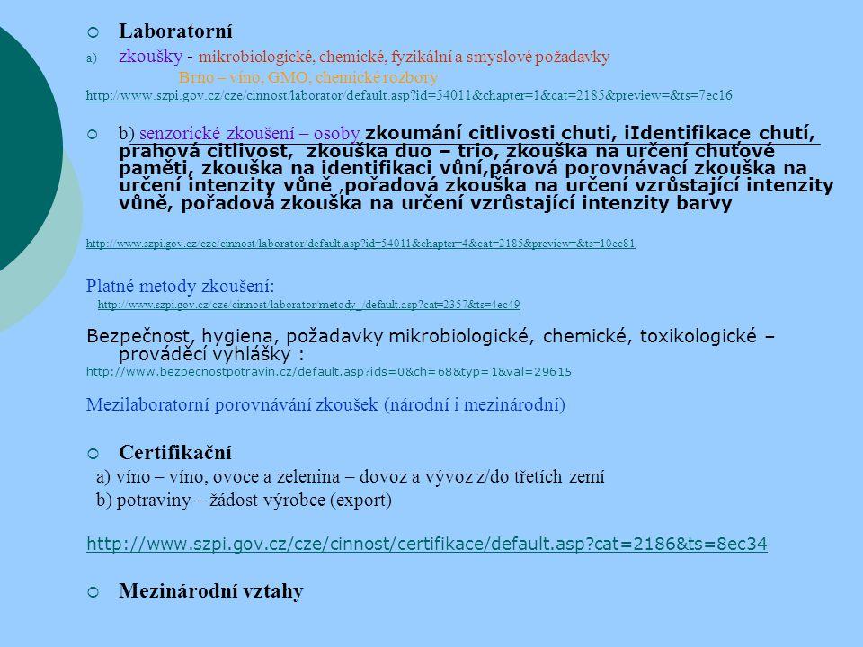 Laboratorní Certifikační Mezinárodní vztahy