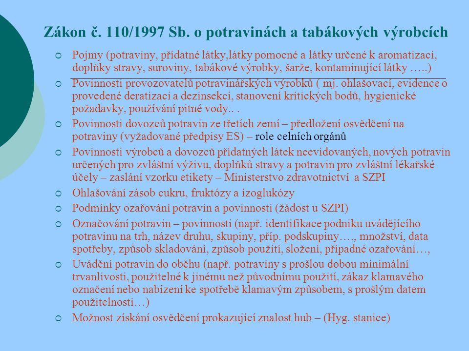 Zákon č. 110/1997 Sb. o potravinách a tabákových výrobcích