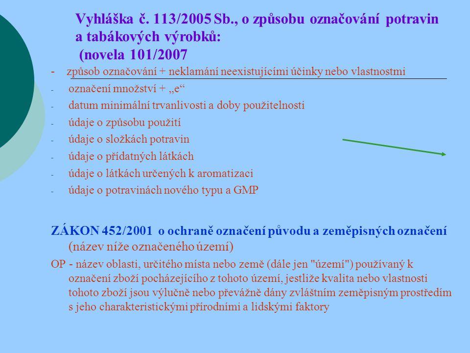 Vyhláška č. 113/2005 Sb., o způsobu označování potravin a tabákových výrobků: (novela 101/2007