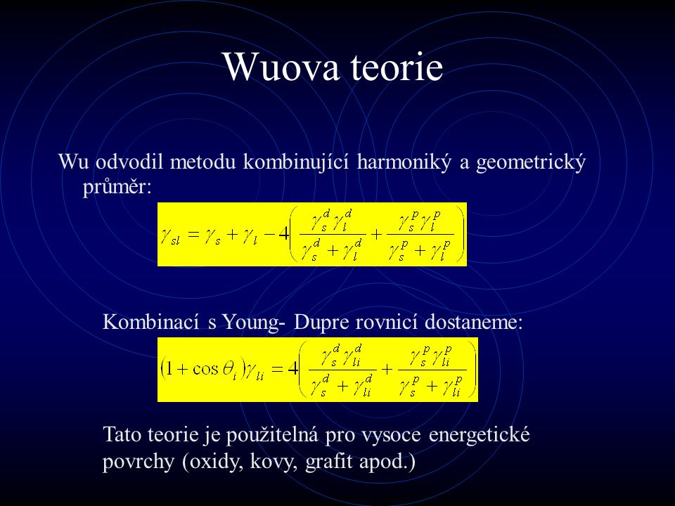 Wuova teorie Wu odvodil metodu kombinující harmoniký a geometrický průměr: Kombinací s Young- Dupre rovnicí dostaneme: