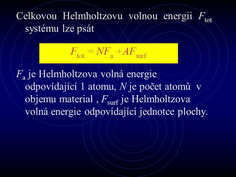 Celkovou Helmholtzovu volnou energii Ftot systému lze psát