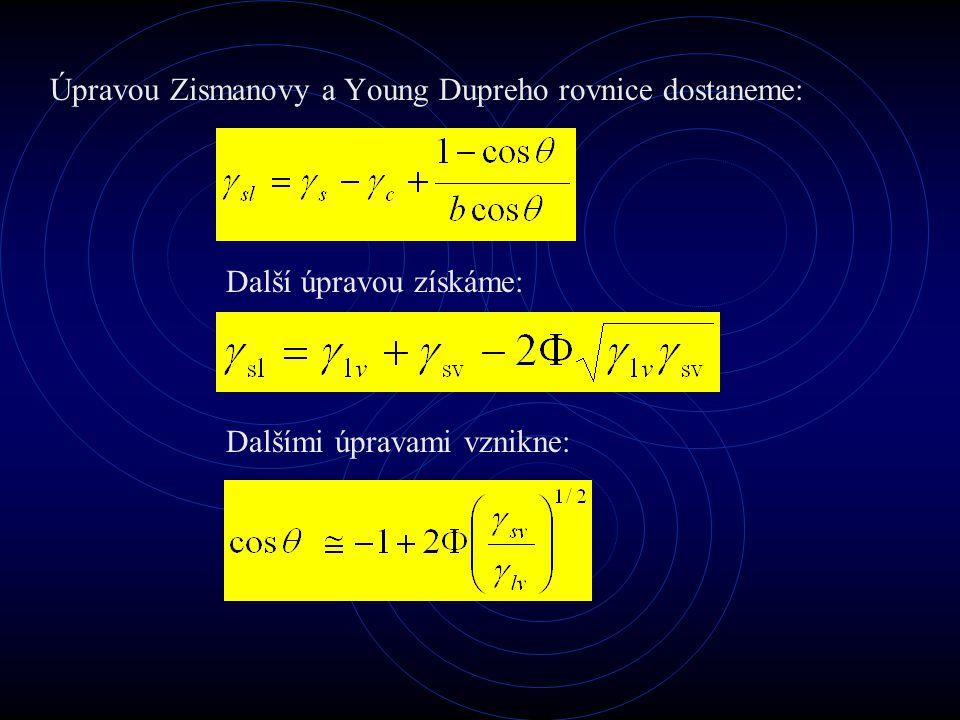 Úpravou Zismanovy a Young Dupreho rovnice dostaneme: