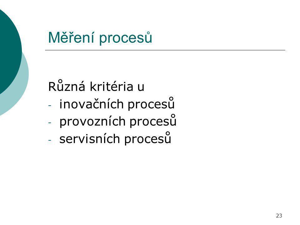 Měření procesů Různá kritéria u inovačních procesů provozních procesů