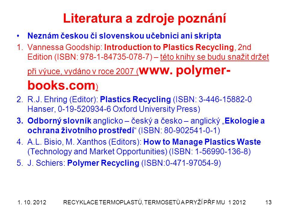 Literatura a zdroje poznání
