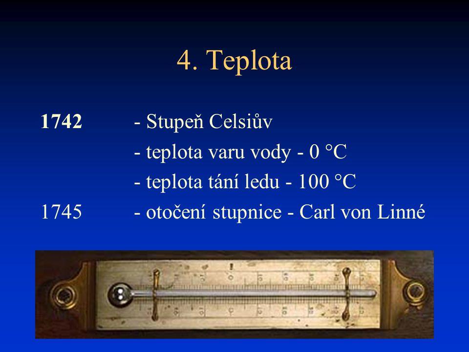 4. Teplota 1742 - Stupeň Celsiův - teplota varu vody - 0 °C