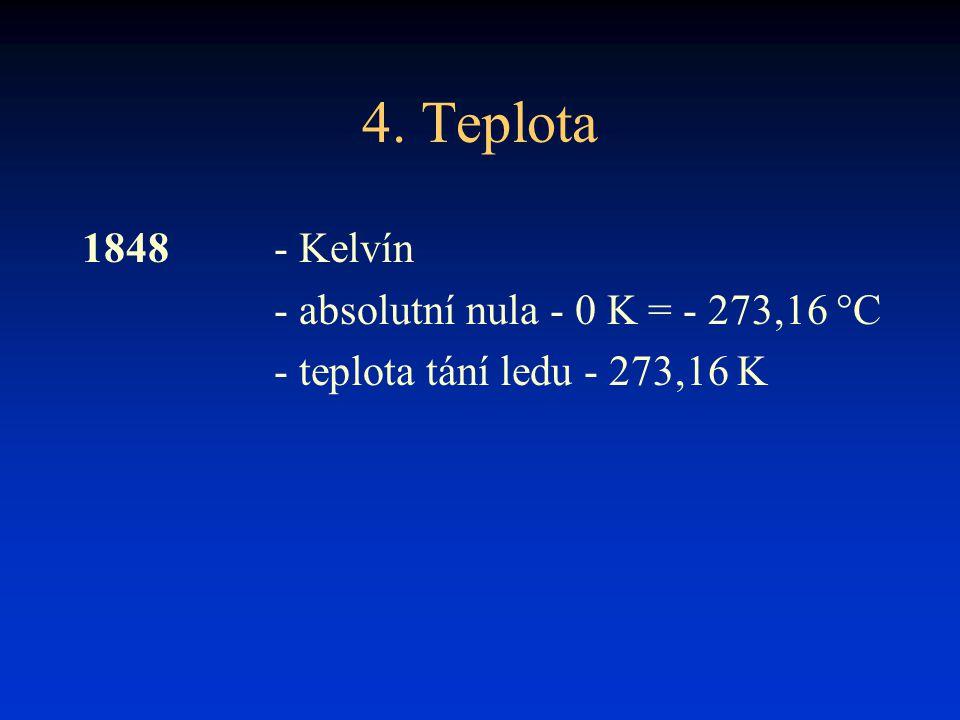 4. Teplota 1848 - Kelvín - absolutní nula - 0 K = - 273,16 °C