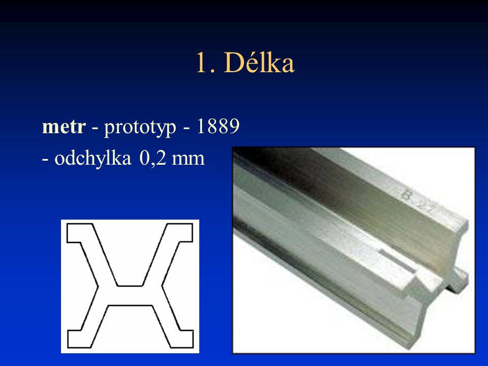 1. Délka metr - prototyp - 1889 - odchylka 0,2 mm
