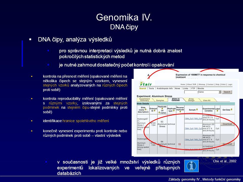 Genomika IV. DNA čipy DNA čipy, analýza výsledků