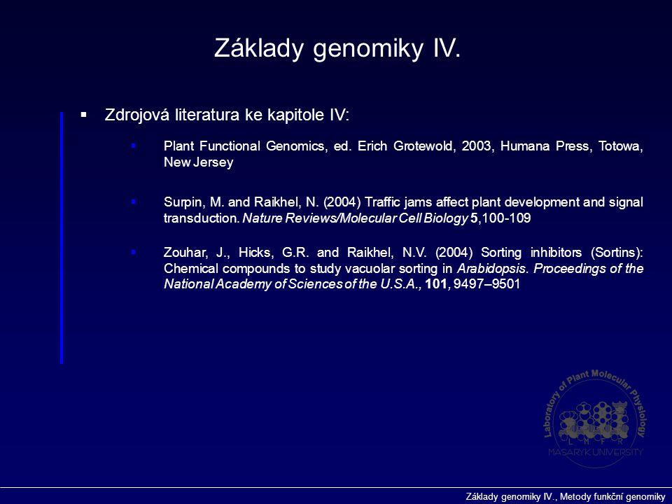 Základy genomiky IV. Zdrojová literatura ke kapitole IV: