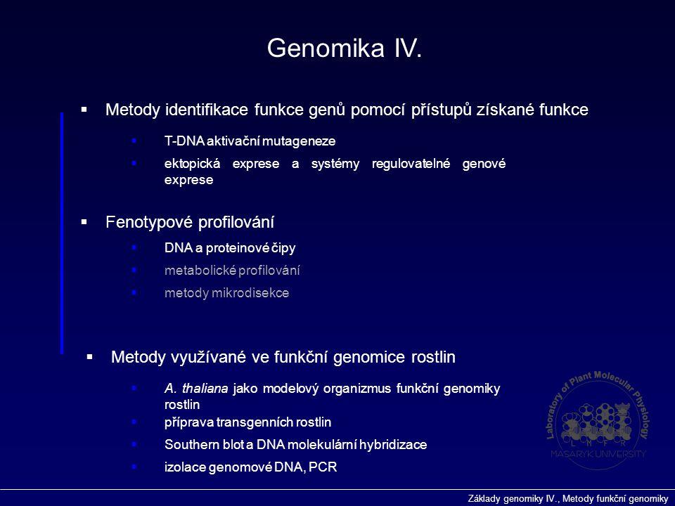 Genomika IV. Metody identifikace funkce genů pomocí přístupů získané funkce. T-DNA aktivační mutageneze.