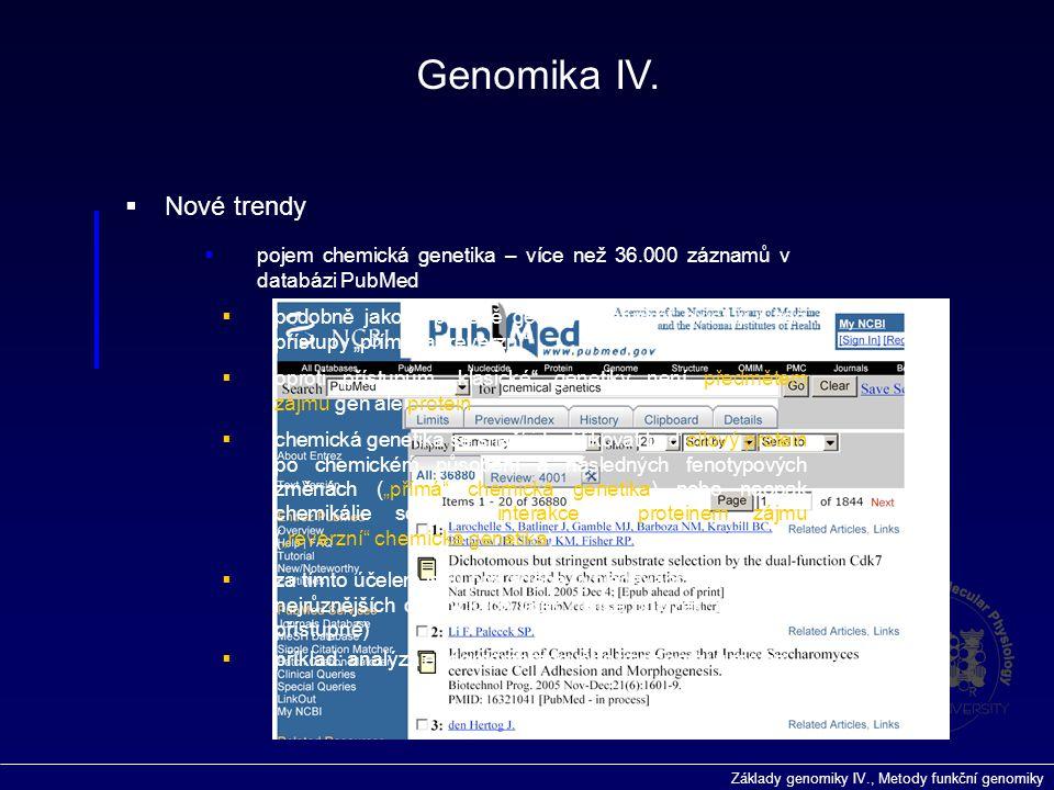 Genomika IV. Nové trendy