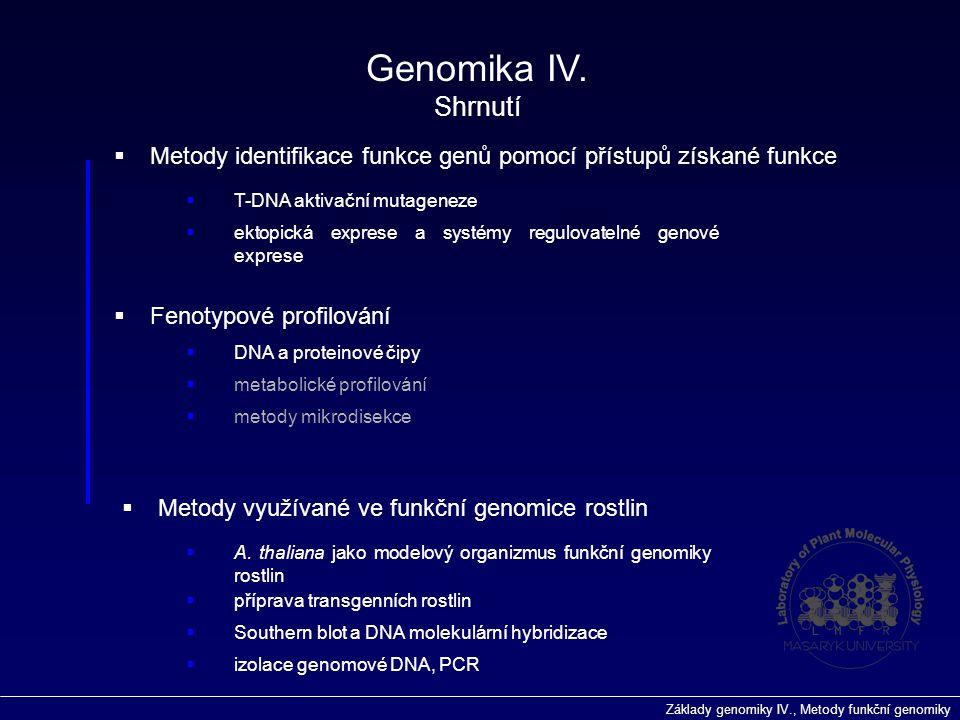 Genomika IV. Shrnutí. Metody identifikace funkce genů pomocí přístupů získané funkce. T-DNA aktivační mutageneze.