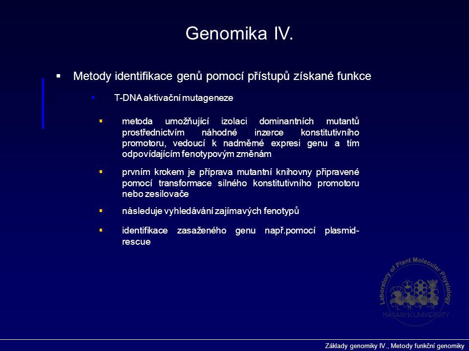 Genomika IV. Metody identifikace genů pomocí přístupů získané funkce