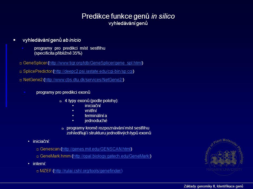 Predikce funkce genů in silico