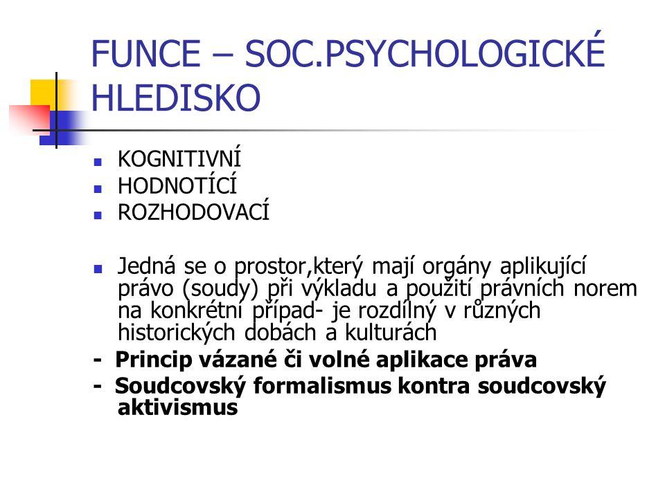 FUNCE – SOC.PSYCHOLOGICKÉ HLEDISKO