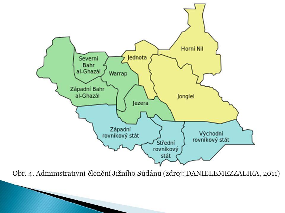 Obr. 4. Administrativní členění Jižního Súdánu (zdroj: DANIELEMEZZALIRA, 2011)