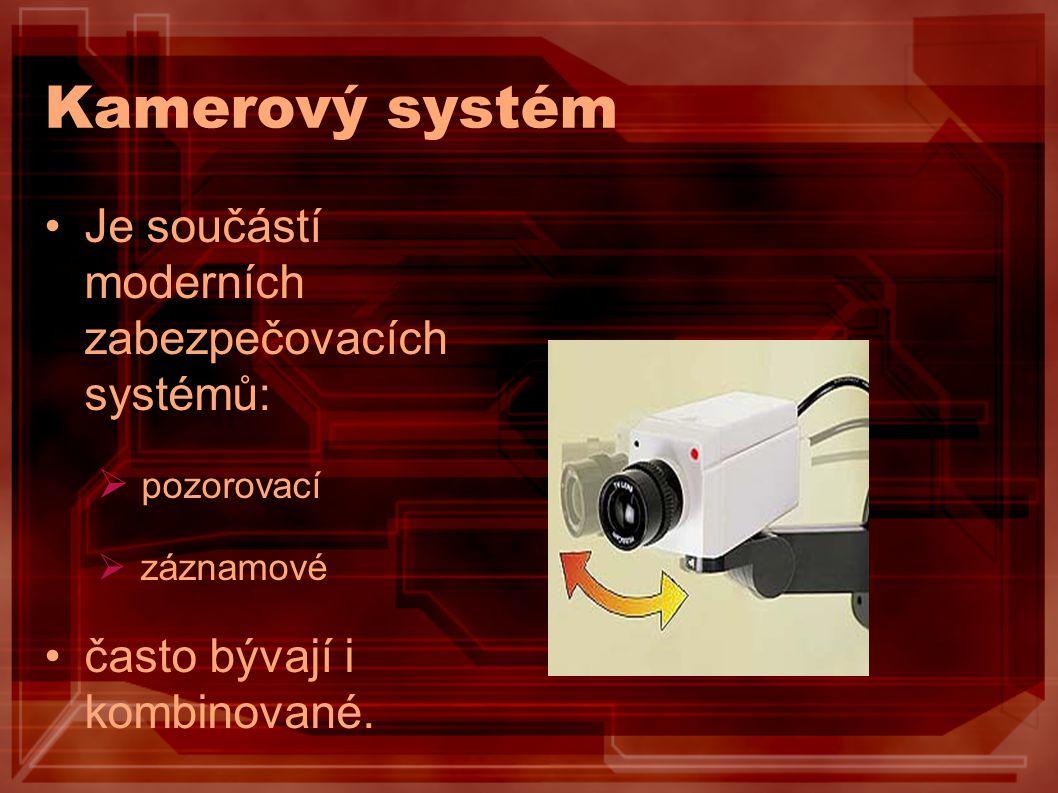 Kamerový systém Je součástí moderních zabezpečovacích systémů: