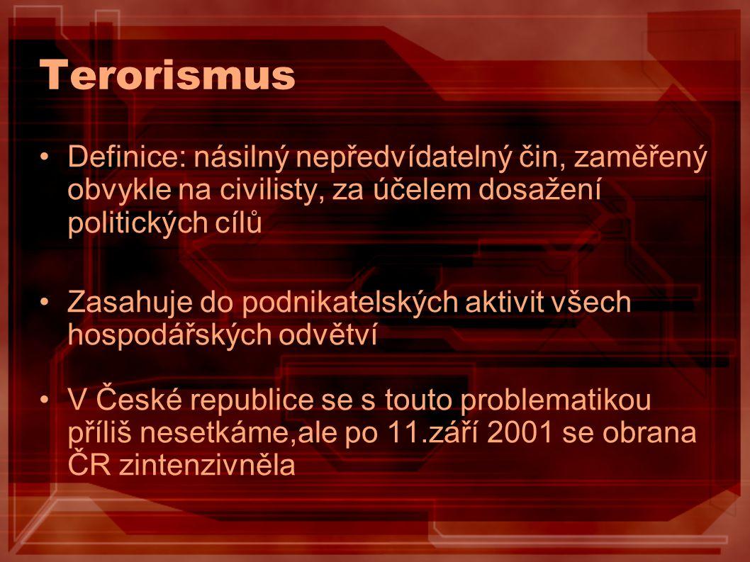 Terorismus Definice: násilný nepředvídatelný čin, zaměřený obvykle na civilisty, za účelem dosažení politických cílů.