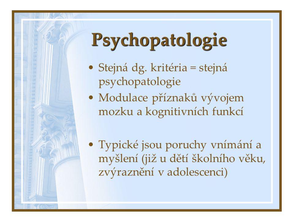 Psychopatologie Stejná dg. kritéria = stejná psychopatologie