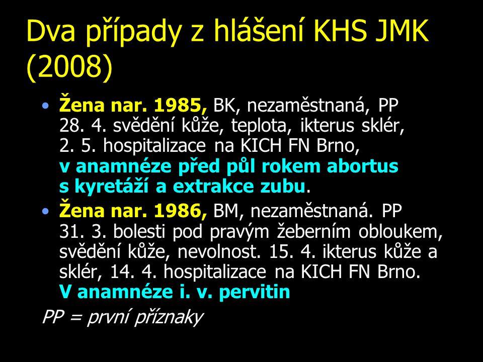 Dva případy z hlášení KHS JMK (2008)