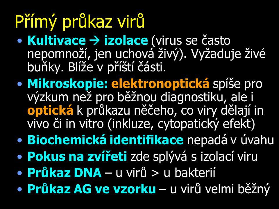Přímý průkaz virů Kultivace  izolace (virus se často nepomnoží, jen uchová živý). Vyžaduje živé buňky. Blíže v příští části.