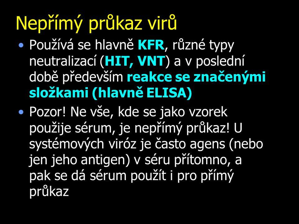 Nepřímý průkaz virů Používá se hlavně KFR, různé typy neutralizací (HIT, VNT) a v poslední době především reakce se značenými složkami (hlavně ELISA)