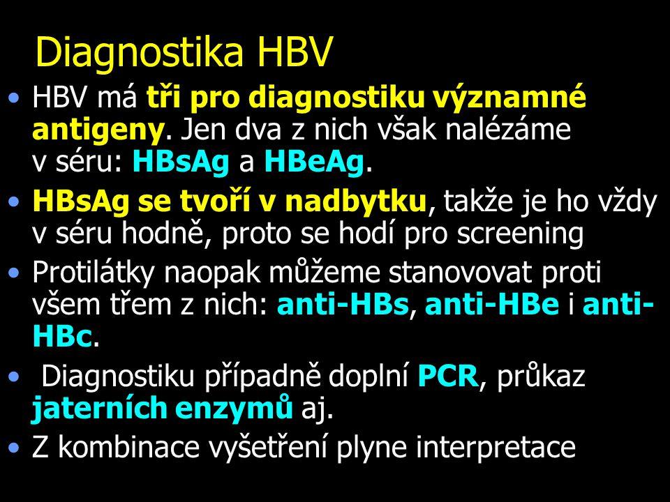 Diagnostika HBV HBV má tři pro diagnostiku významné antigeny. Jen dva z nich však nalézáme v.séru: HBsAg a HBeAg.