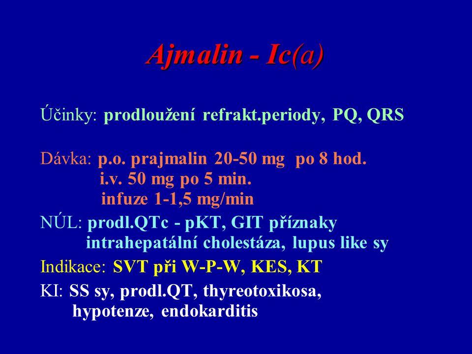 Ajmalin - Ic(a) Účinky: prodloužení refrakt.periody, PQ, QRS