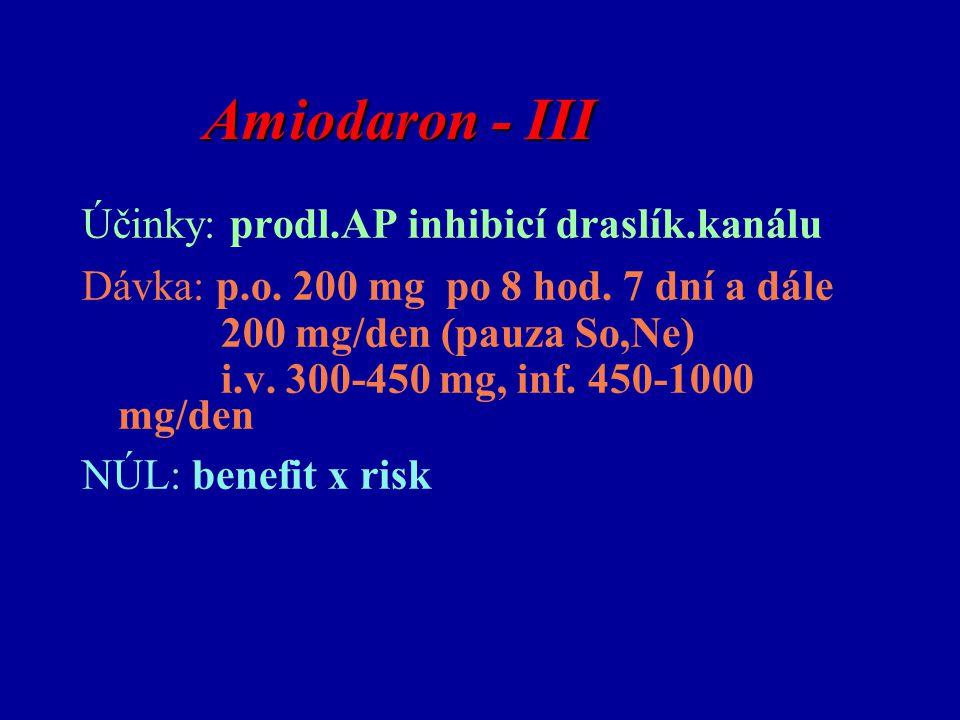 Amiodaron - III Účinky: prodl.AP inhibicí draslík.kanálu