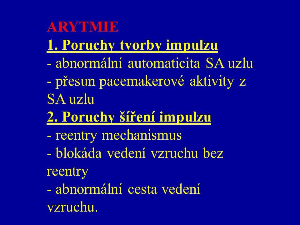 ARYTMIE 1. Poruchy tvorby impulzu. - abnormální automaticita SA uzlu. - přesun pacemakerové aktivity z SA uzlu.