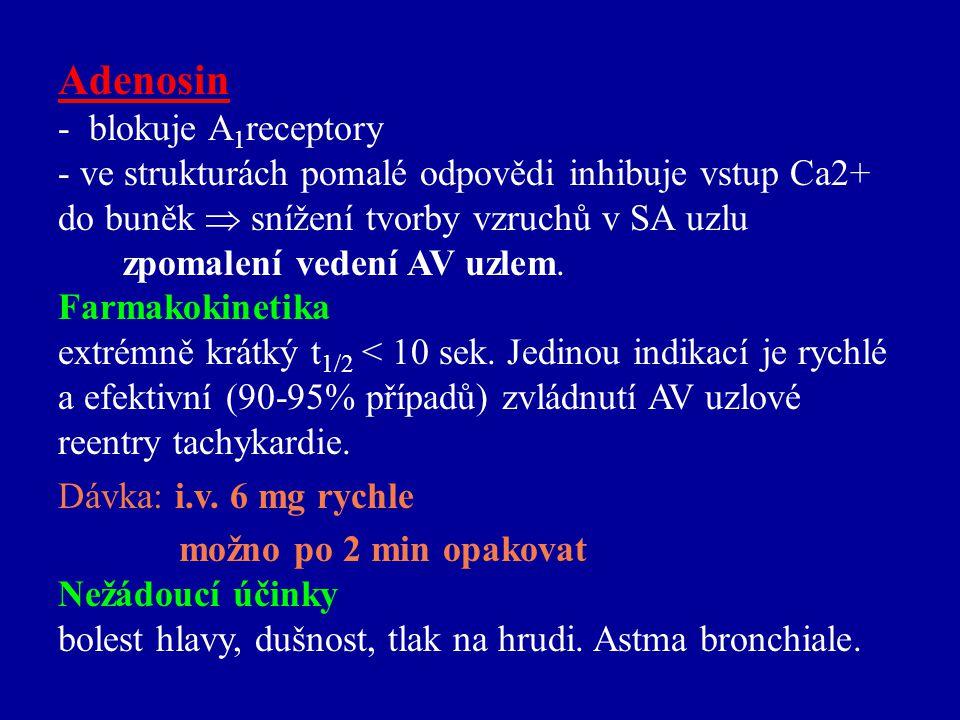 Adenosin - blokuje A1receptory